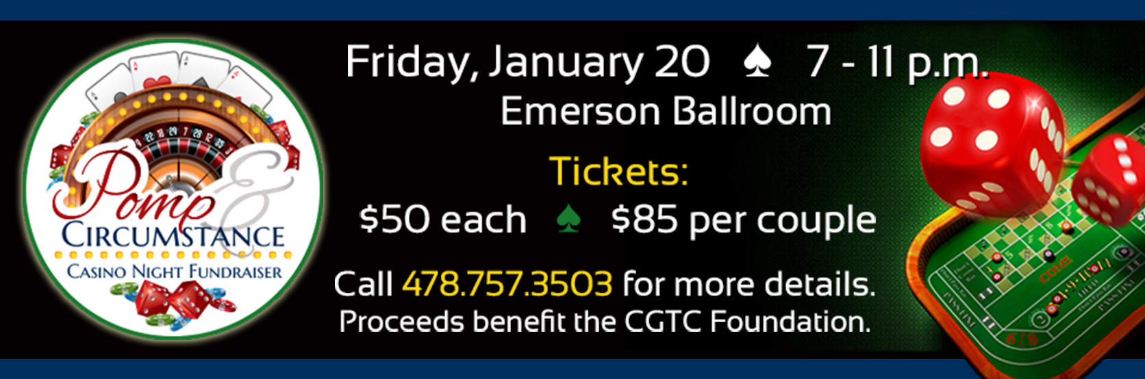 Tickets are on sale for the CGTC Foundation's Annual Casino Night Fundraiser. Tickets are $50 each or $85 per couple. Call 478-757-3503 for more details.
