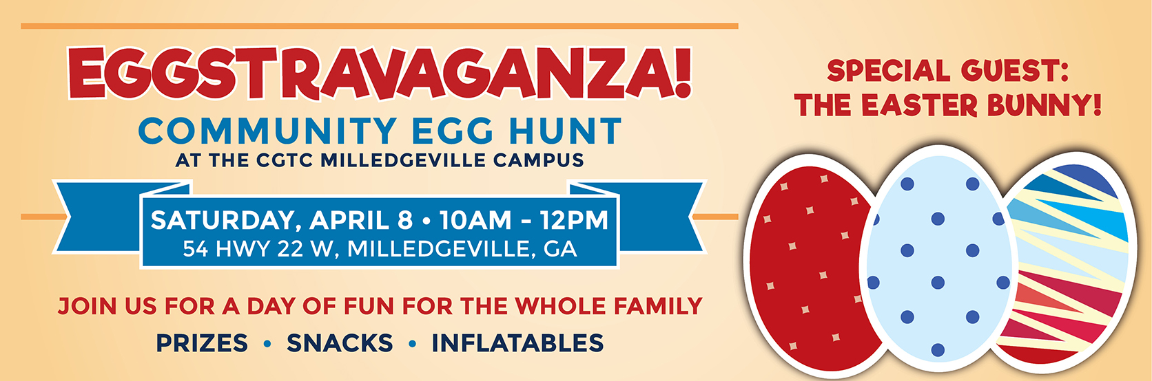 A community egg hunt will be held on the Milledgeville campus of CGTC on Saturday, April 8 from 10:00 am to 12 pm.